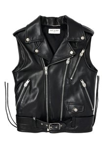 Saint Laurent Women Leather Jacket Leather Biker Jacket Leather Vest