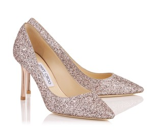 Jimmy Choo Romy 85 Metallic Glitter Sold Out Rose Pumps