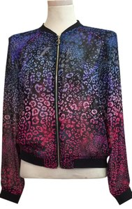 Juicy Couture Sheer Bomber Leopard print Jacket