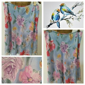 Ralph Lauren Floral Silk Flowing Skirt Lt Blue