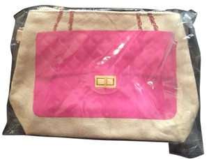 Thursday Friday Wristlet in beige and pink