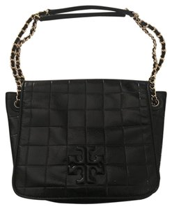 Tory Burch Quilted Patent Leather Gold Hardware Tote in Black