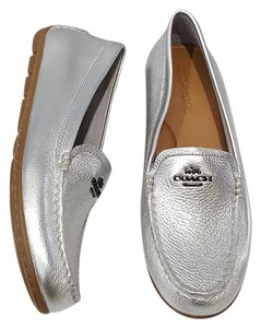 Coach Loafer Mary Lock Up Loafer Leather Leather Loafer Silver Flats