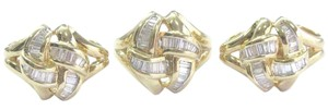 Other 18Kt Baguette Diamond Criss Cross Yellow Gold Earrings & Ring Set 2.00