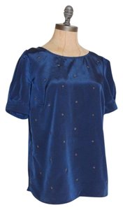 Anthropologie Willow & Clay Beaded Stars Navy Top BLUE