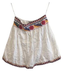 Mango Embroidered Bohemian Mexican Floral Skirt White