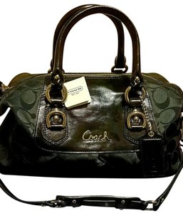 Coach Satchel in Silver/Black Grey/Black