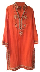 Tory Burch short dress Tangerine with cream, chocolate brown and bronze trim on Tradesy