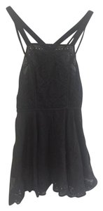 Free People short dress Black Lace Embroidered Sheer Bohemian Boho on Tradesy