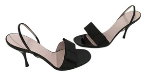 Céline Made Italy Black Fabric Bow Leather Lining Soles Slingback Italian E37.5 Sandals