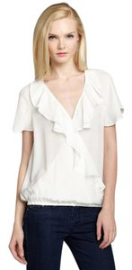 Joie Silk Ruffle Short Sleeve Top ivory