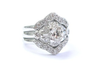 Other Platinum Vintage Old European Diamond WIDE Engagement Jewelry Ring .88