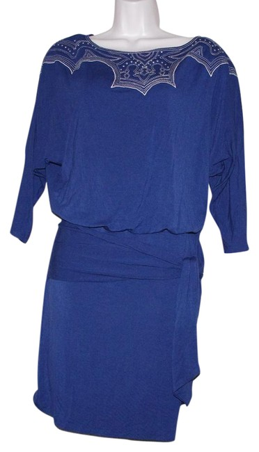 Item - Blue Gray Tracy Reese Knit Rayon 3/4 Sleeve Dolman Mini Tunic Short Night Out Dress Size 8 (M)