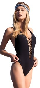 Red Carter Splice & Dice Plunge Lace-Up Tank Mio One-Piece Swimsuit