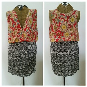 Amanda Uprichard short dress Multi Floral Patchwork Silk Contrast New on Tradesy