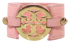 Tory Burch Light Pink Leather Wide Logo Cuff Double Snap Buckle Bracelet