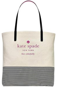 Kate Spade Tote in NATURAL STRIPE BLACK