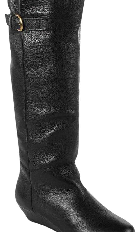 437be951457 Steven by Steve Madden Black Intyce Leather Wedge Boots Booties Size ...