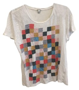 J.Crew Fun Casual Oversized Color-blocking Colorful T Shirt White