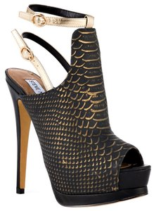 Steve Madden Womens Stiletto Heel Fashion Summer Summer Hot Prom Leather Upper Suede Style Blue and Gold Snake Print Sandals