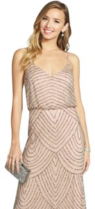 Adrianna Papell Taupe/Pink Art Deco Beaded Blouson Dress