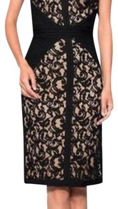 Tadashi Shoji short dress black with beige underlay on Tradesy
