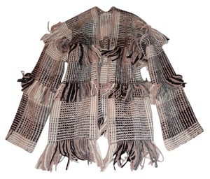 Ulla Johnson Fringe Wrap Plaid Sweater