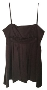 BCBGeneration Silk Buttons Pleated Spaghetti Empire Waist Top Brown