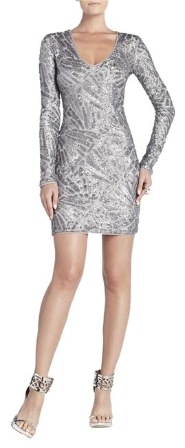 Item - Silver Morris V-neck Deco Sequined Short Night Out Dress Size 4 (S)