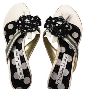 Christian Lacroix white/olive Sandals