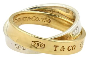 Tiffany & Co. Tiffany & Co. 1837 18k Gold & 925 Silver 3.5mm Double Band Ring Size 4