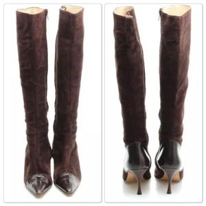 Manolo Blahnik Manolo Suede Leather Sale Brown Boots