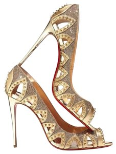 Christian Louboutin Circus City Studded Spike Glitter Gold Pumps