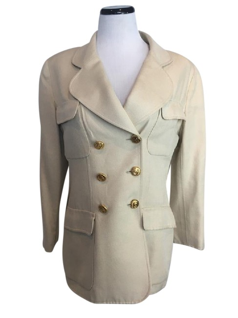 Item - Cream Notched Lapel Double Breasted Blazer Size 12 (L)