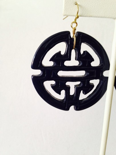 Other Embellished by Leecia Navy Blue Resin Asian Design Earrings