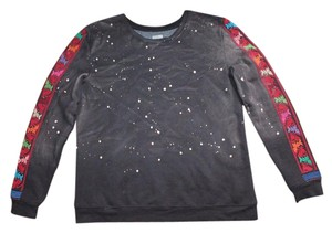 Ecote Acid Wash Bleach Out Embroidered Sweatshirt Sweater
