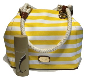 Michael Kors Marina Spring Summer Striped Tote in Citrus Yellow