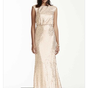 David's Bridal Gold Gold Sequin Bridesmaids Dress Dress