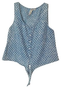 Mimi Chica Crop Polka Dot Top blue, white