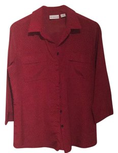 Liz Claiborne Button Down Shirt Red/Black