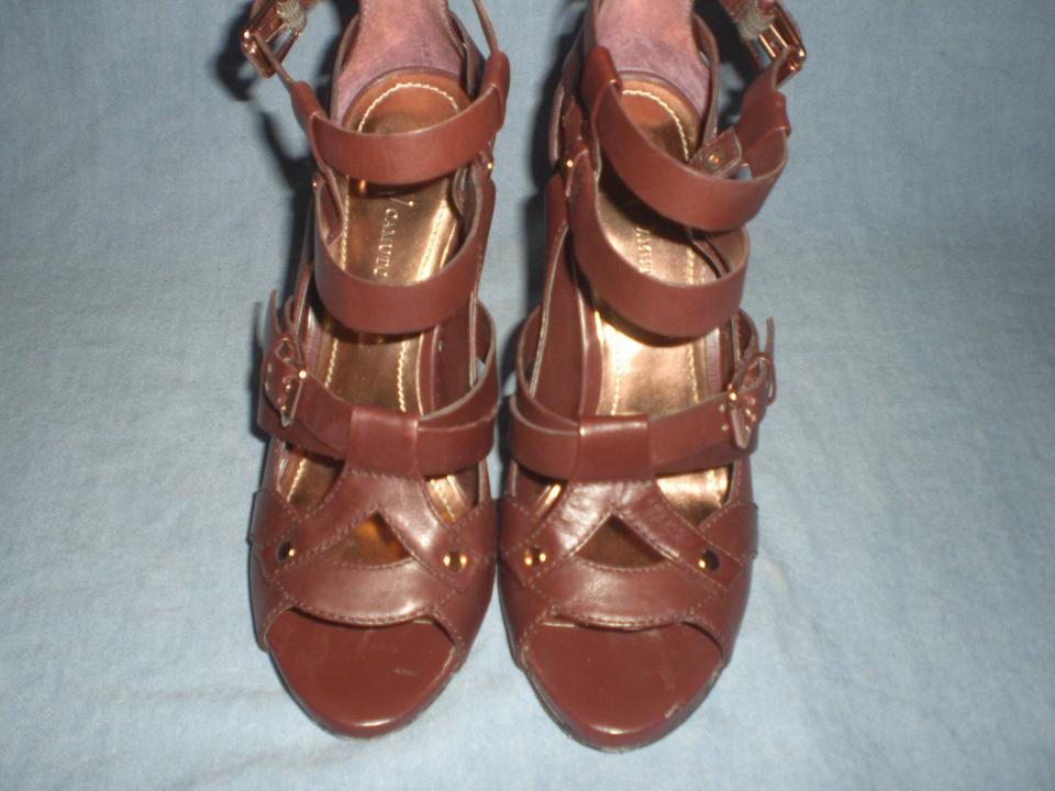 798fc8ff9b8f Vince Camuto Brown -paloma-brown-leather-platform-ankle-wrap-sandals-with-gold  Studs Sandals Size US 7.5 Regular (M