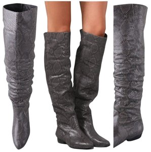 Pour La Victoire Snakeskin Over The Knee Slouchy Leather Grey Snake Boots