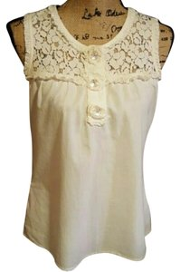 Eyeshadow #lace #ruffledetail #pearlizedbuttons #sleeveless #100percentcotton Top Cream Beige