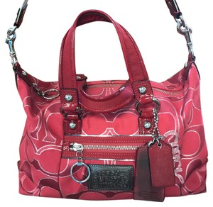 Coach Satchel in Ruby red and silver
