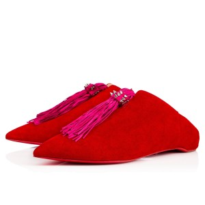 Christian Louboutin Suede Tassel Slippers Red Flats