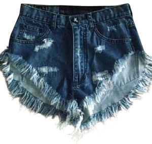 One Teaspoon Free People Jeans Zz Bonitas Jean Bandit Jean Denim Cut Off Shorts Blue