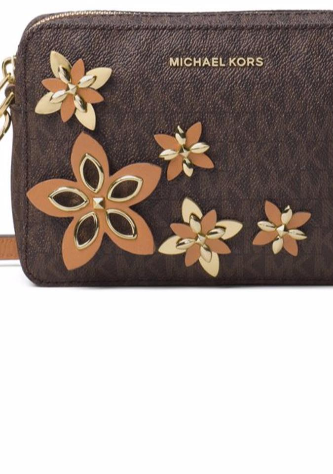 ac9c4c7685c8 Michael Kors Flowers Pouches Medium Camera Brown Leather Cross Body ...