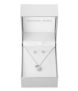 Michael Kors MICHAEL KORS SILVER TONE PAVE DOME PENDANT AND STUD EARRINGS