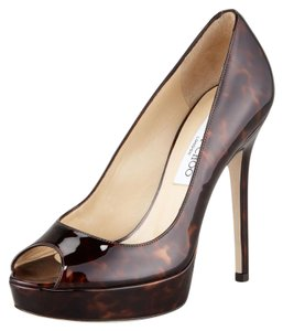 Jimmy Choo Tortoise Patent Leather Peep Toe brown Pumps