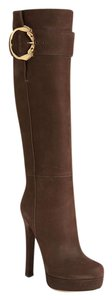 Gucci Leather Tall Horsebit brown Boots